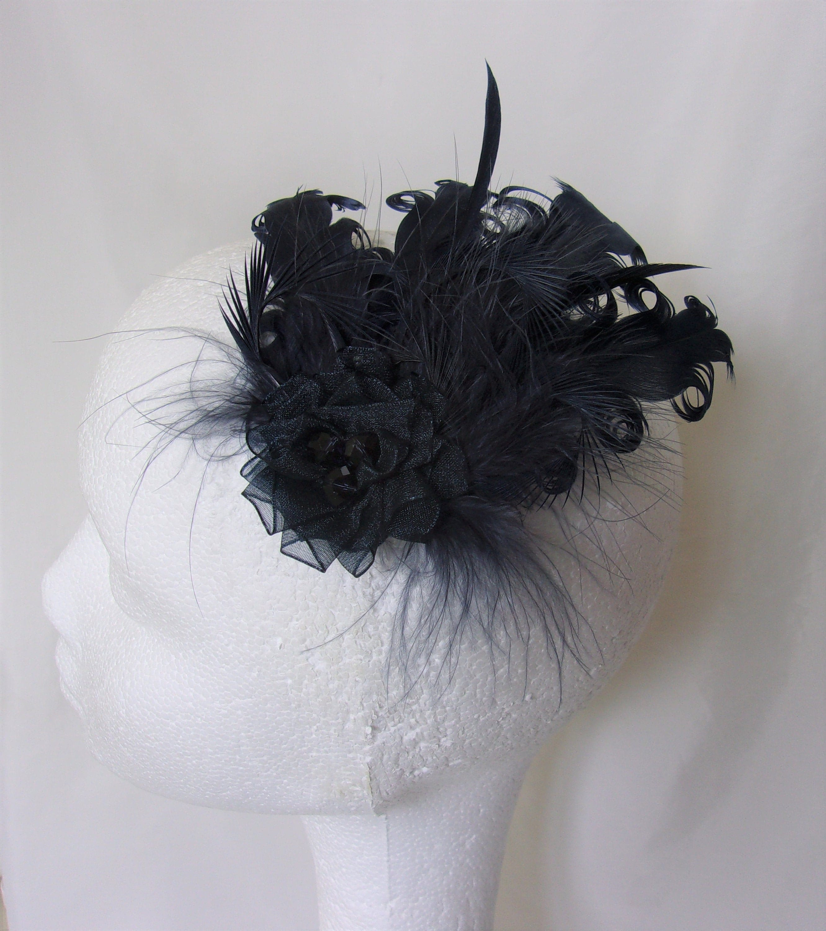 Small Lilac Sinamay Wedding Feather Fascinator Hat Ready made//send same day