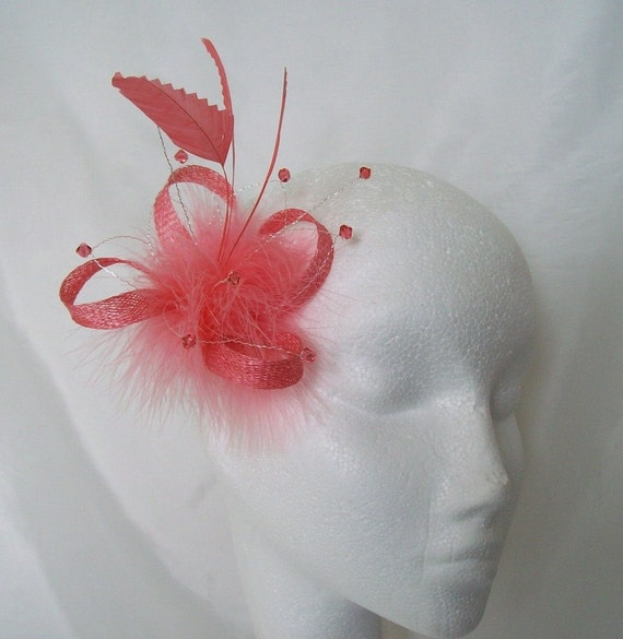 Coral Feather Fascinator Small Watermelon Flamingo Feathers  6040728f33b