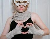 Dreamy  Fog Soft Colar Knit Neckwarmer Ruffle Headband Choker Scraflatte Earwarmer Set with Fingerless Gloves