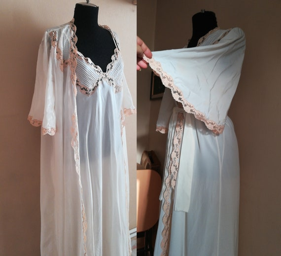 Wedding robe set Bridal nightgown and robe Vintage