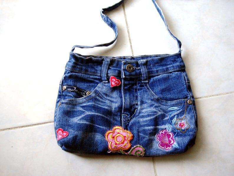 Recycled denim bag. Upcycled jeans bag Denim Handbags  614fc94ba1730