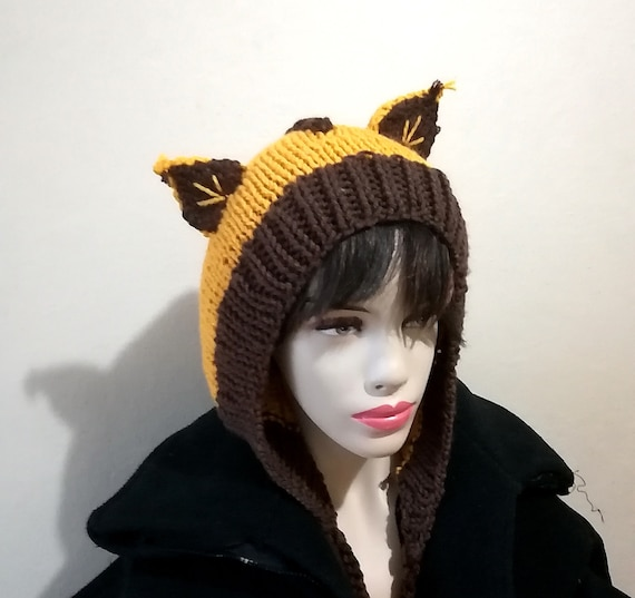 a3c5c3513f4 Cat hooded scarf Yellow Cat hat with ears Earflap Animal