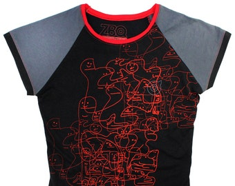 Oddfellows Black/Charcoal Ladies Raglan Shirts