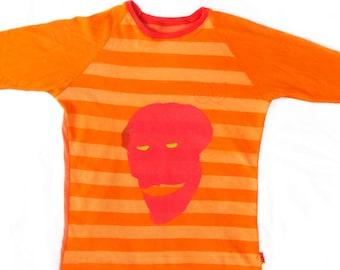 Edwan Ladies Small Orange Striped Baseball Shirt 1/1 BH001