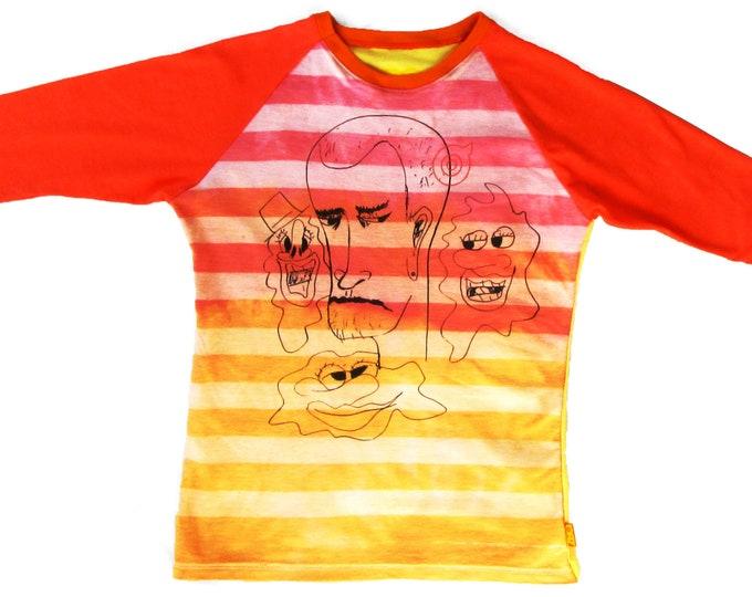 Good Vibes Ladies Small Pink Striped Baseball Shirt BH021