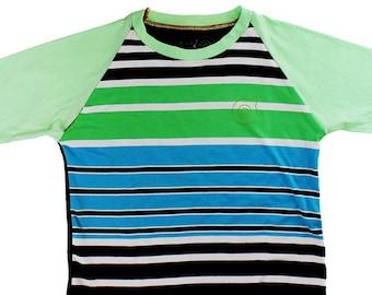 Blue/Green Striped Youth Medium Baseball Shirt B007