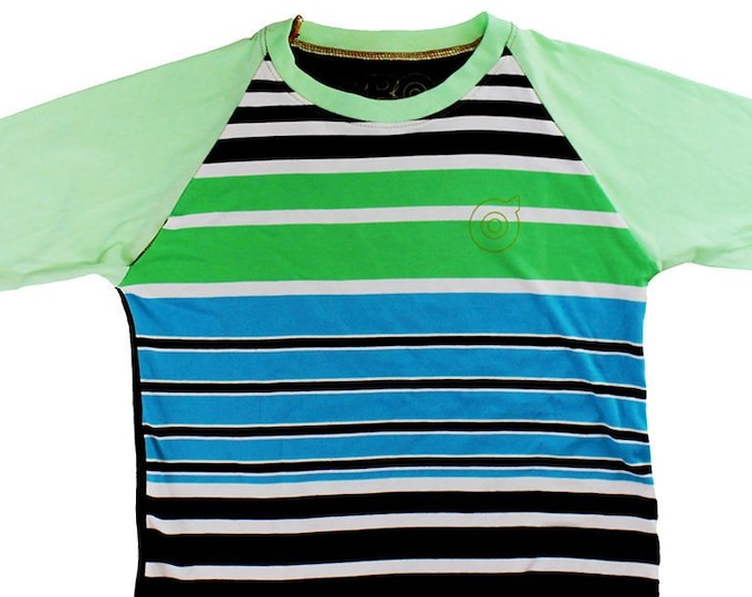 Blue/Green Striped Youth Medium Baseball Shirt B007