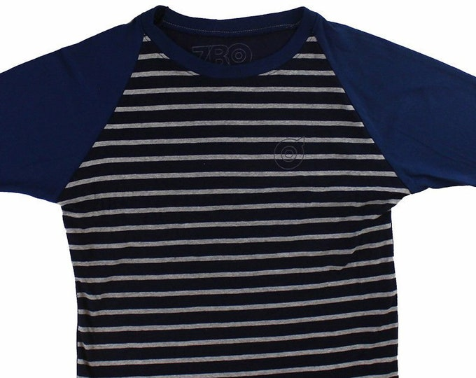 Blue/Grey Striped Youth Large Baseball Shirt BJ031