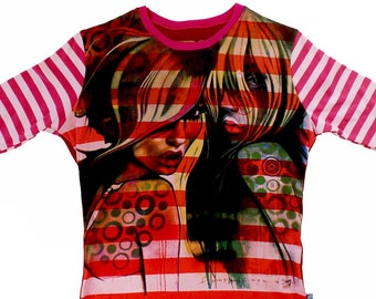 2 Betties Ladies Small Pink Striped Long Sleeved Shirt BD006