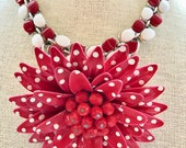 Repurposed Vintage Thermoset Red White Daisy Enamel Brooch Collage Upcycled Altered Statement Wedding Art Deco Necklace Doodaba