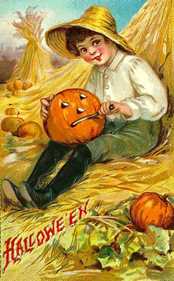 Fabric Block Halloween Vintage Postcard Image Witch Hanging Jack o Lanterns