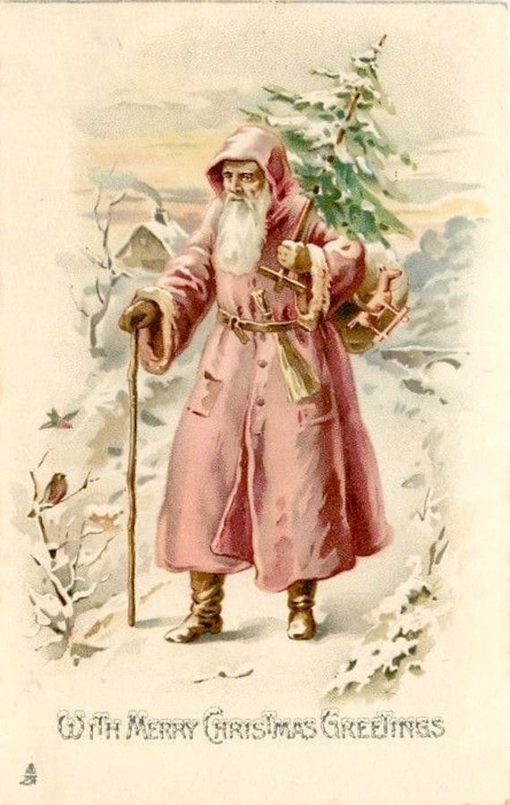 Immagini Vintage Natale.Vintage Natale Rosa Babbo Natale Immagine Grafica Arte Tessuto Etsy