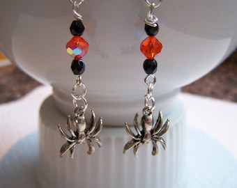 Halloween Spiders Dangle Earrings Doodaba