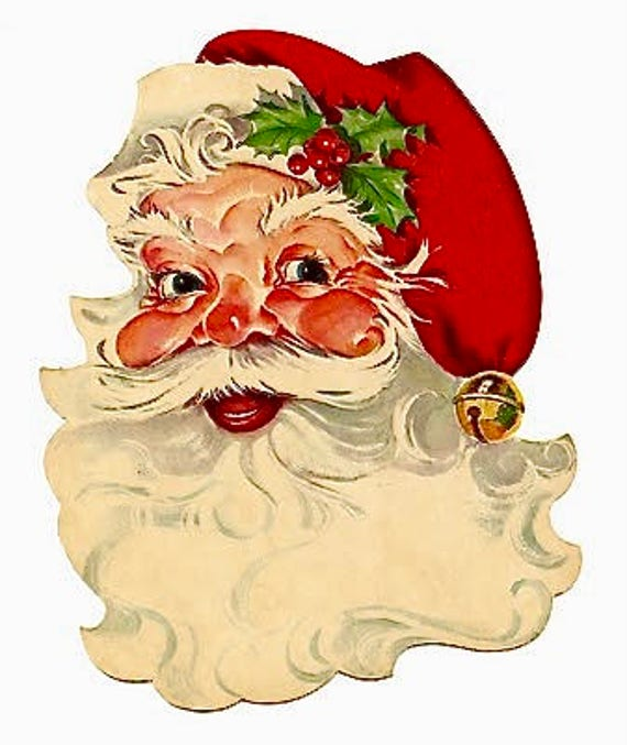 Vintage Christmas Fabric Block Santa Claus Portrait
