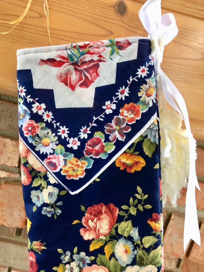Mauve Pink Roses Navy Blue Reversible Vintage Handkerchief Yarn Tassels Christmas Stocking Shabby Chic Handmade Quilted Doodaba