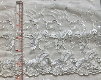 9 Yards Cream Flat Embroidered Lace Trim Bridal Doll Sewing Doodaba