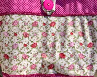 Hot Pink Fuschia Pink Roses Green Leaves Quilted Tote Bag Handmade Doodaba Handbag
