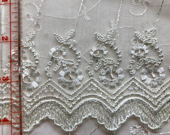 15 Yards Cream Flat Embroidered Lace Trim Bridal Doll Sewing Doodaba