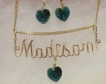 """Name Necklace and Earrings to Match, Crystal Hearts, Llist Name & Color in """"Note to Seller"""""""