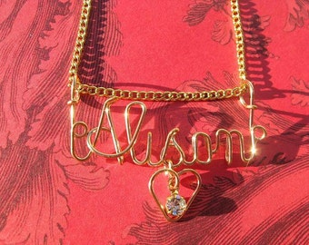 """GOLD NAME NECKLACE with Birthstone in Heart Includes Chain, (Put Name and Month in """"Note to Seller"""") Buy 2 Get Free Shipping"""