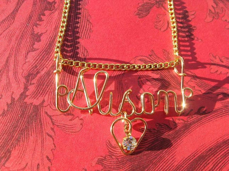 GOLD NAME NECKLACE with Heart & Stone Free Chain Put Name image 1