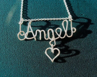 """ALL STERLING SILVER...Name, 18"""" chain & Heart, Great Gift, Great Price, List Name in """"Note to Seller"""""""