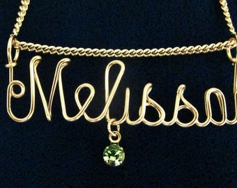 """Gold Name Necklace with Birthstone (optional) and Chain, List name & birhtstone in """"Note to Seller"""""""