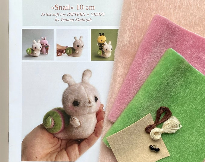 Snail - Sewing KIT,  artist pattern, stuffed toy tutorials, diy a gift, soft toy diy craft kit for adults TSminibears
