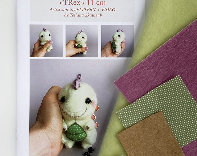 TRex dinosaur - Sewing KIT, Video tutorial DIY stuffed toy pattern, Xmas gift, Christmas tree decoration, softie plushie craft kit for adult