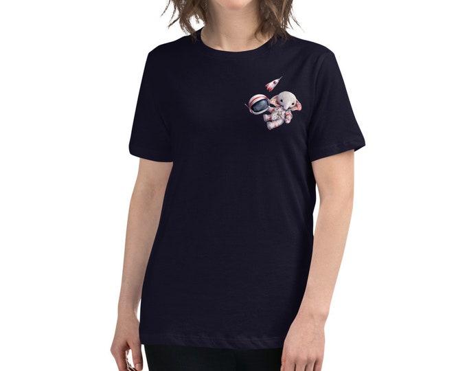 Women's Relaxed T-Shirt Spaceman Elephant artist design by TSminibears, Super Soft & Comfy, woman tshirt