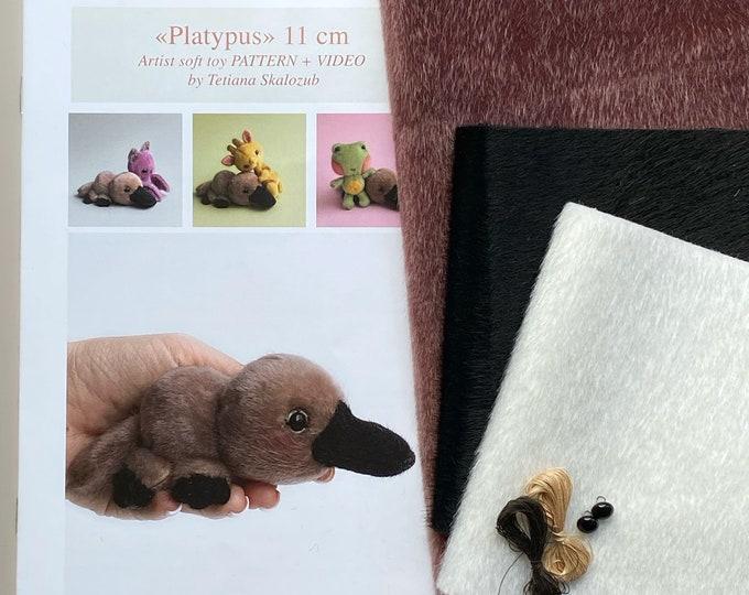 Platypus - Sewing KIT,  artist pattern, stuffed toy tutorials, diy a gift, soft toy diy craft kit for adults TSminibears