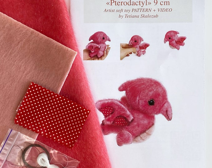 Pterodactyl dinosaur - Sewing KIT, Video tutorial DIY stuffed toy pattern, Christmas tree decoration, softie plushie craft kit for adult