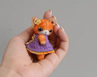 Karen Fox - Artist Miniature Mini Micro Teddy fox Cute handmade toy Lover Gift Doll Stuffed Animal by TSminibears
