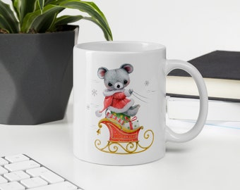 Mug Merry Christmas and Happy New Year Mouse with gifts