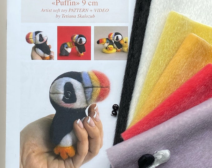 Puffin - Sewing KIT,  artist pattern, stuffed toy tutorials, diy a gift, bird soft toy diy craft kit for adults TSminibears