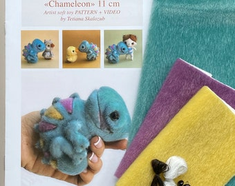 Chameleon - Sewing KIT,  artist pattern, stuffed toy tutorials, diy a gift, soft toy diy craft kit for adults TSminibears