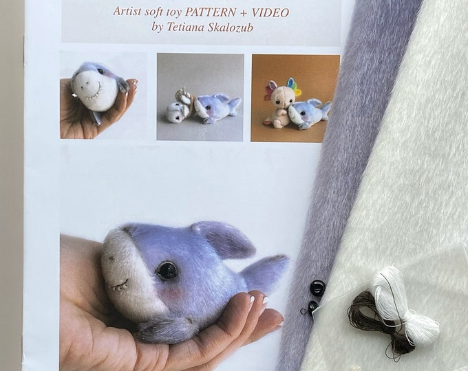 Shark - Sewing KIT,  artist pattern, stuffed toy tutorials, sea animal, whale, dolphin soft toy diy craft kit for adults TSminibears