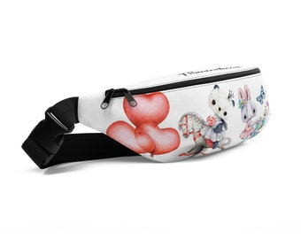 Fanny Pack with Animals white