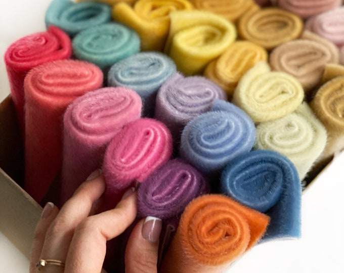 Magic box of 36 the most popular hand dyed colored TSminibears fabrics for making toys, premium quality for crafting, craft kit, sewing kits