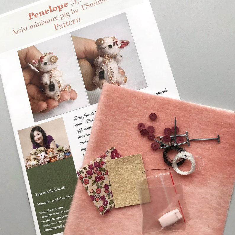 Sewing pig piglet KIT, artist miniature pattern, making mini toy, cute  piggy tutorials, soft toy diy, stuffed animal pattern