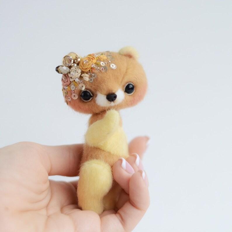 Artist Miniature Teddy Bear cub Lover Gift Doll Silk Embroidered Stuffed Animal Christmas Gift For Boyfriend By TSminibears. Agathe Bear