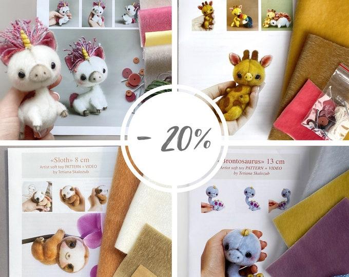 4 in 1 Craft kits Bestsellers Unicorn Giraffe Sloth Brontosaurus PDF sewing patterns Video tutorial DIY stuffed toy pattern toy easy to sew