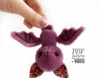 Bat PDF sewing pattern Video tutorial DIY stuffed toy pattern DIY bats toy kids toy pattern easy to sew for beginners TSminibears