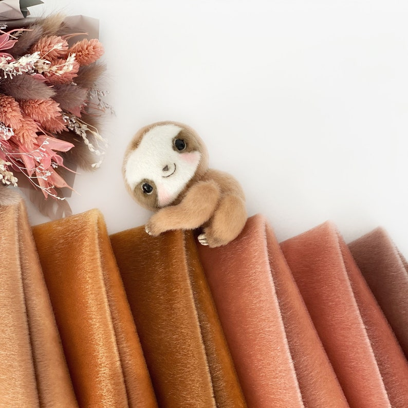 Ninelle Sloth Colors Lux Extra long pile mini teddy bear image 0