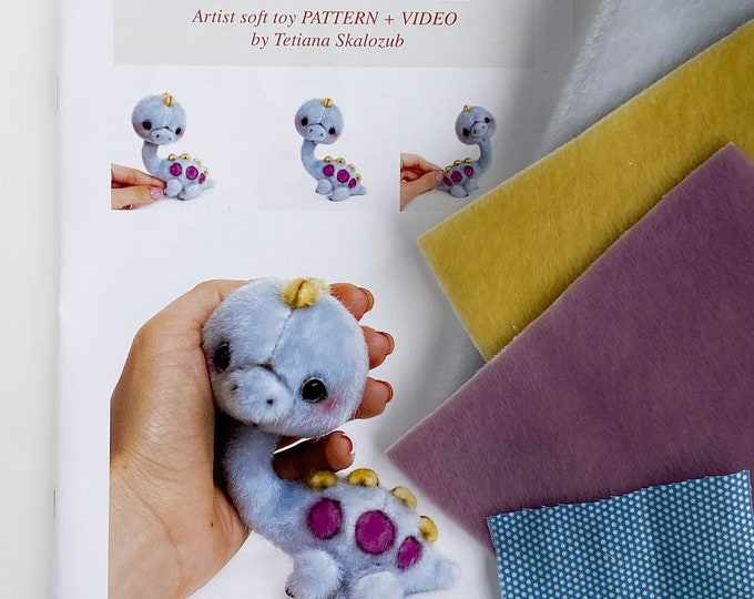 Brontosaurus dino - Sewing KIT, Video tutorial DIY stuffed toy pattern, Christmas tree decoration, softie plushie craft kit for adult
