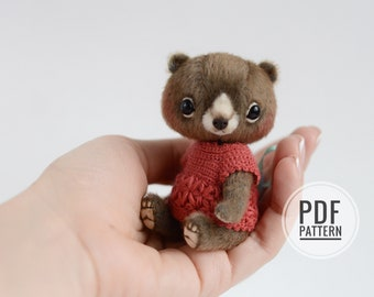 Miniature Teddy Bear PATTERN PDF text instructions,  easy teddy bear pattern for beginners, how to sew traditional bear