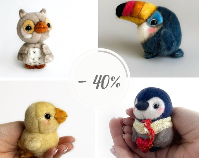 4 in 1 PATTERN Birds Owl Toucan Duck Penguin PDF sewing patterns Video tutorial DIY stuffed toy easy to sew by TSminibears