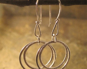 Double hooped fine silver earrings --- Free shipping --- Ready to ship!