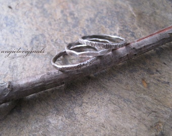 Fine Silver Rings - set of 3 --- Free shipping