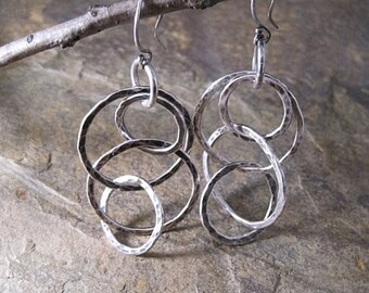 Circles and circles of fine silver earrings --- Free shipping